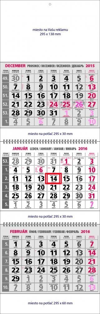 nastenny kalendar 3 dilni 3x12 stran siv